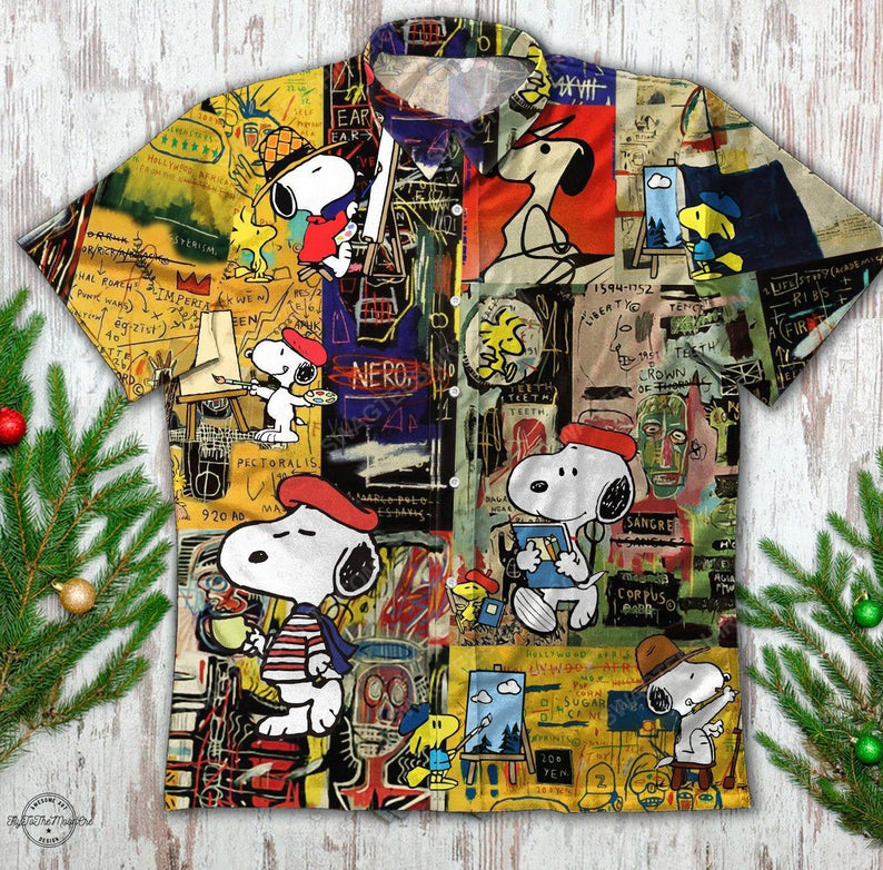 Vintage snoopy and woodstock summer vacation hawaiian shirt 1