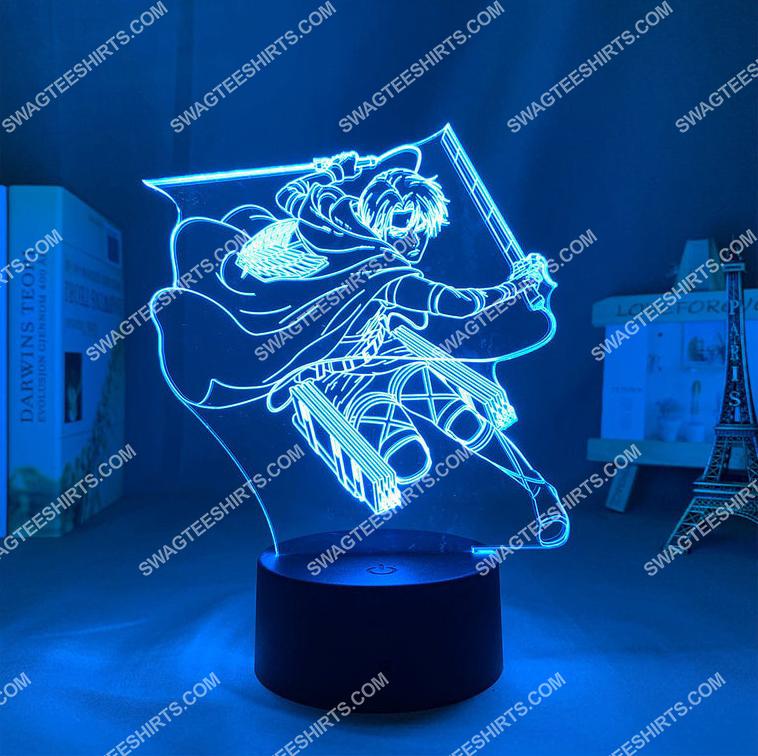 attack on titan levi ackerman anime 3d night light led 21