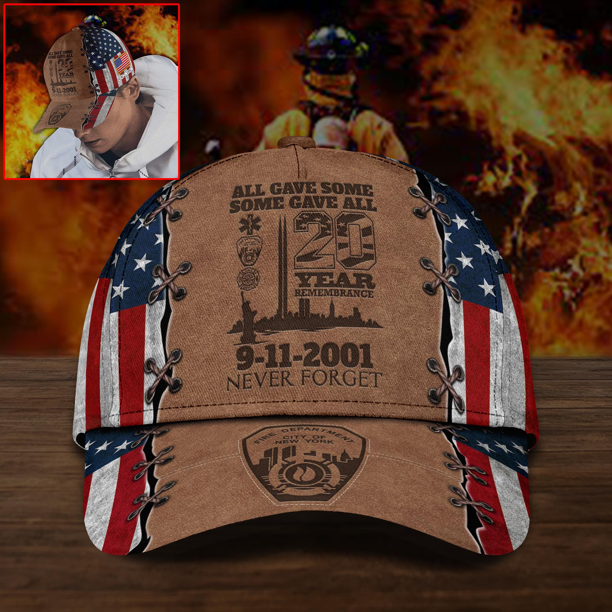 9-11-2001 All Gave Some Some Gave All Custom Name Cap