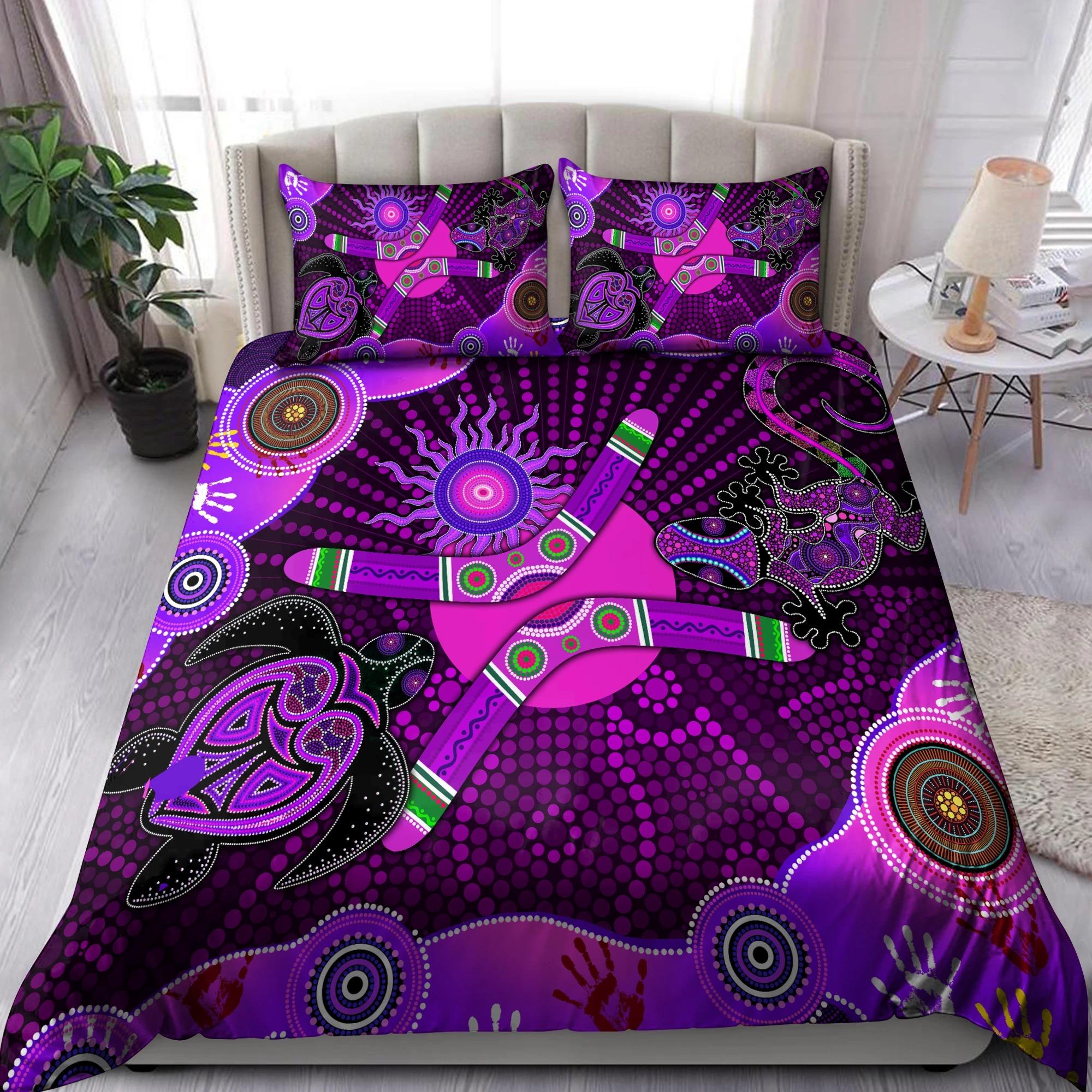 Aboriginal Naidoc Week 2021 Best Purple Turtle Lizard Bedding set