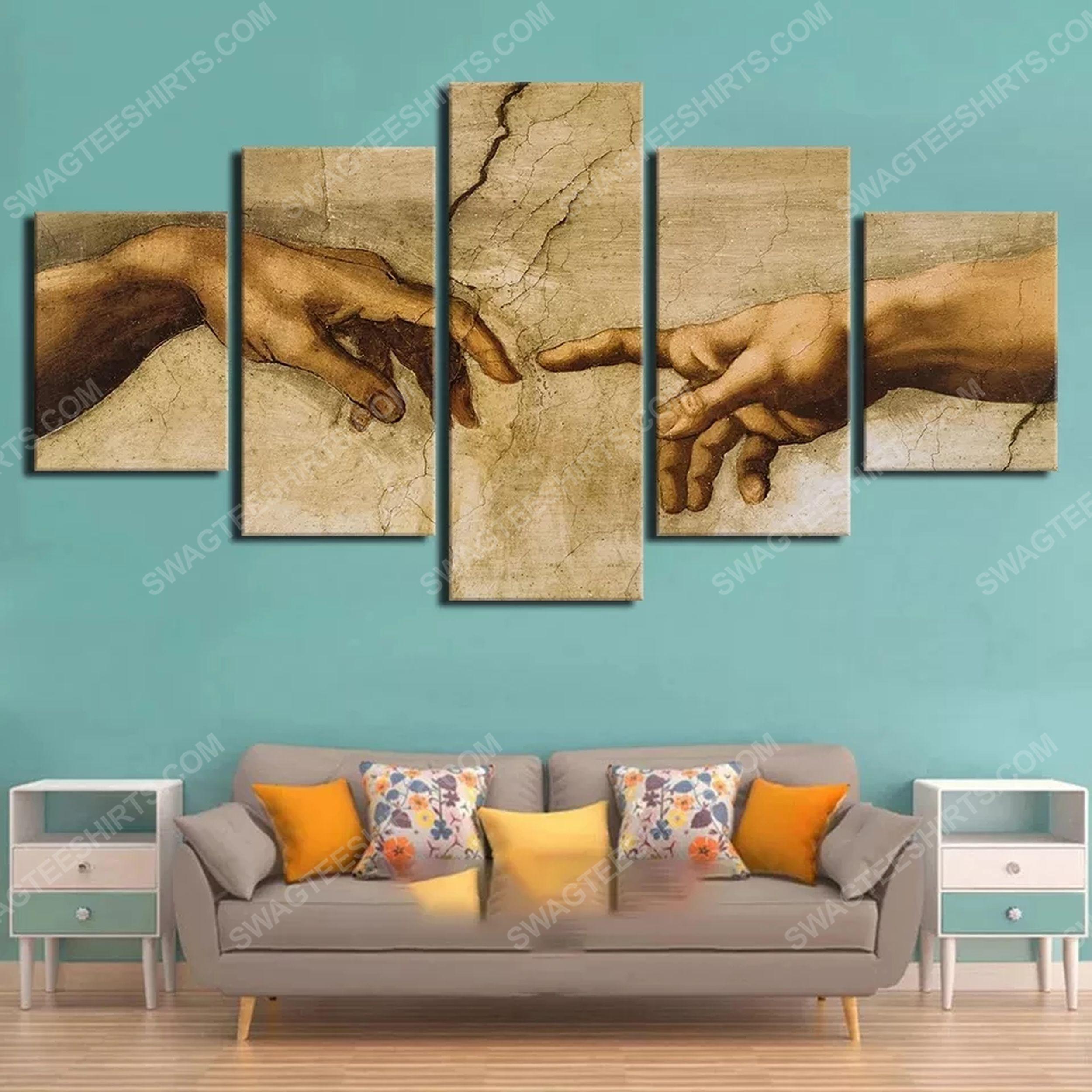 Adam hand of god print painting canvas wall art home decor