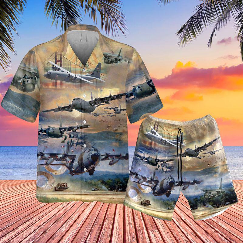 Air Force Lockheed C-130 Hercules Pocket Hawaiian Shirt And Short