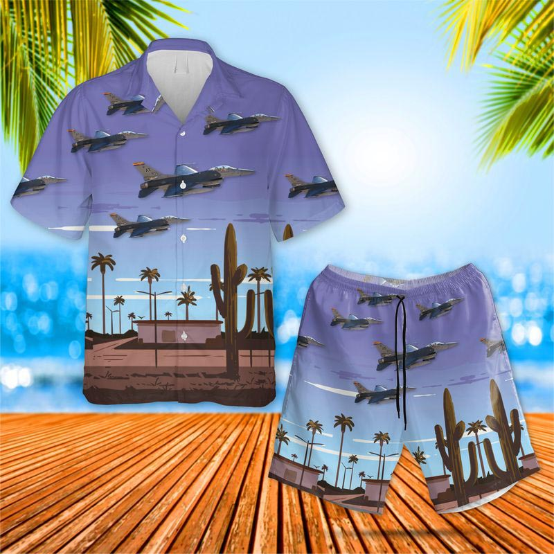 Air National Guard Air Force Reserve Command Test Center F-16C Fighting Falcon Hawaiian Shirt