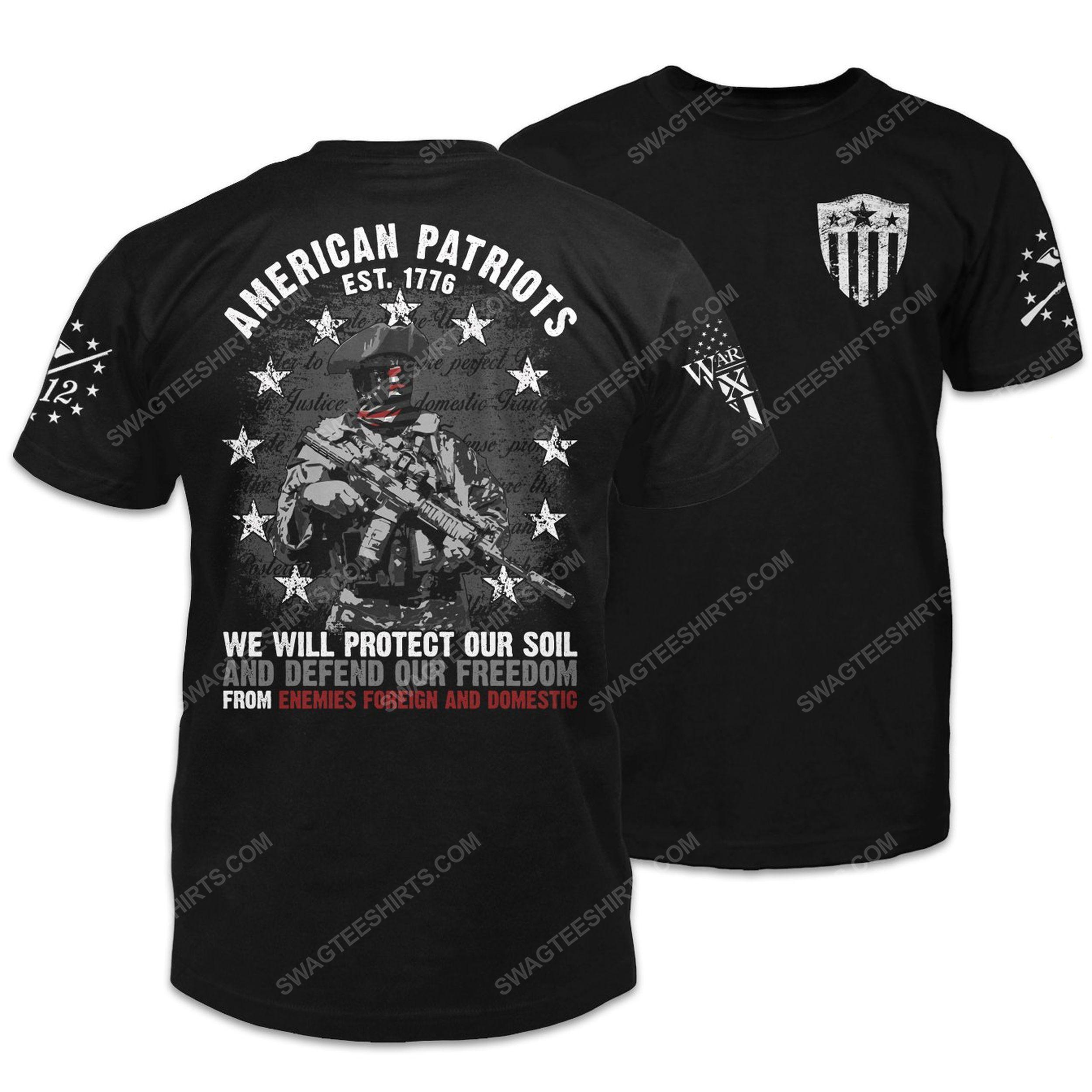American patriots revolutionary war soldier shirt