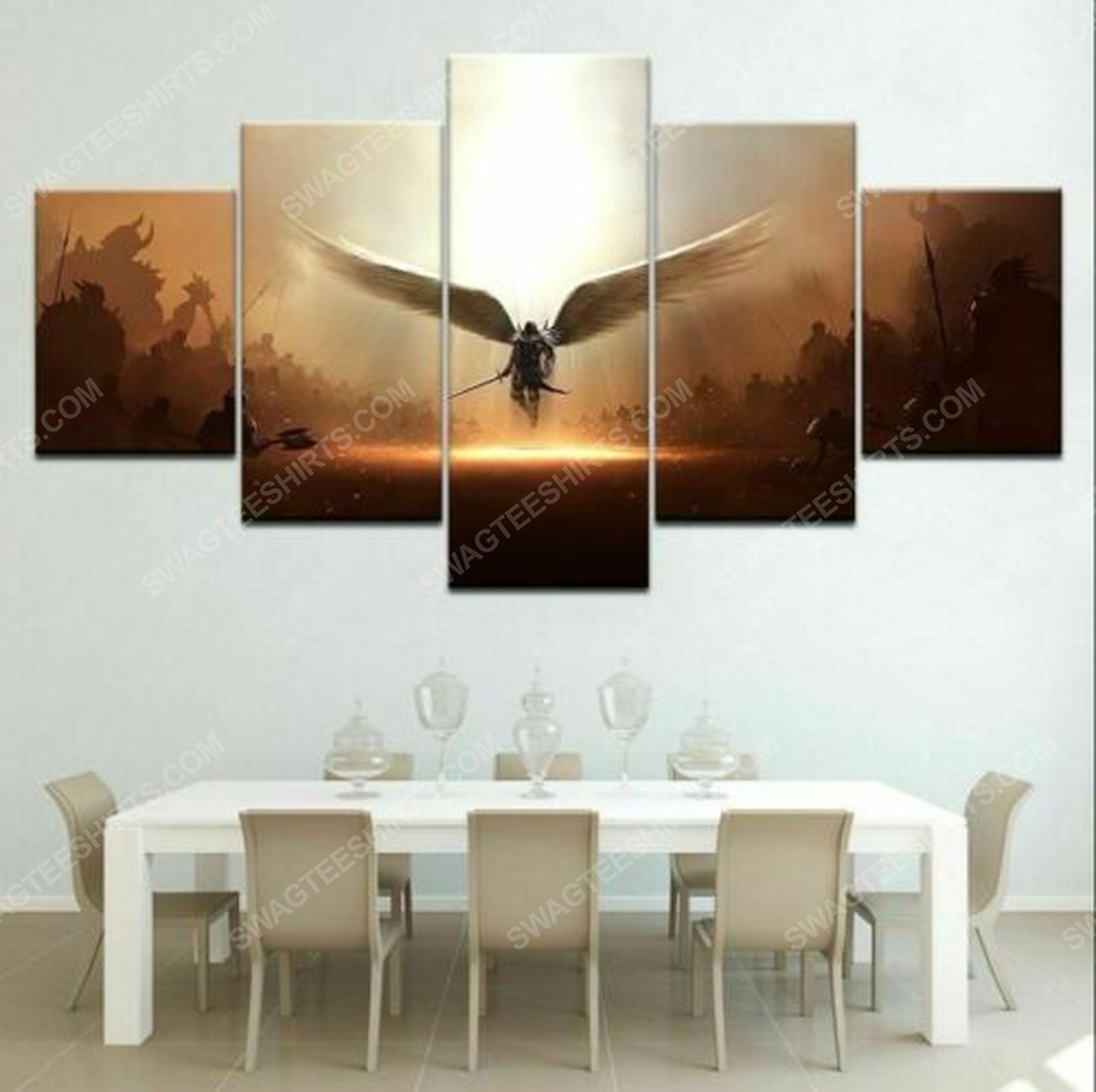 Angel wing sword archangel canvas wall art home decor