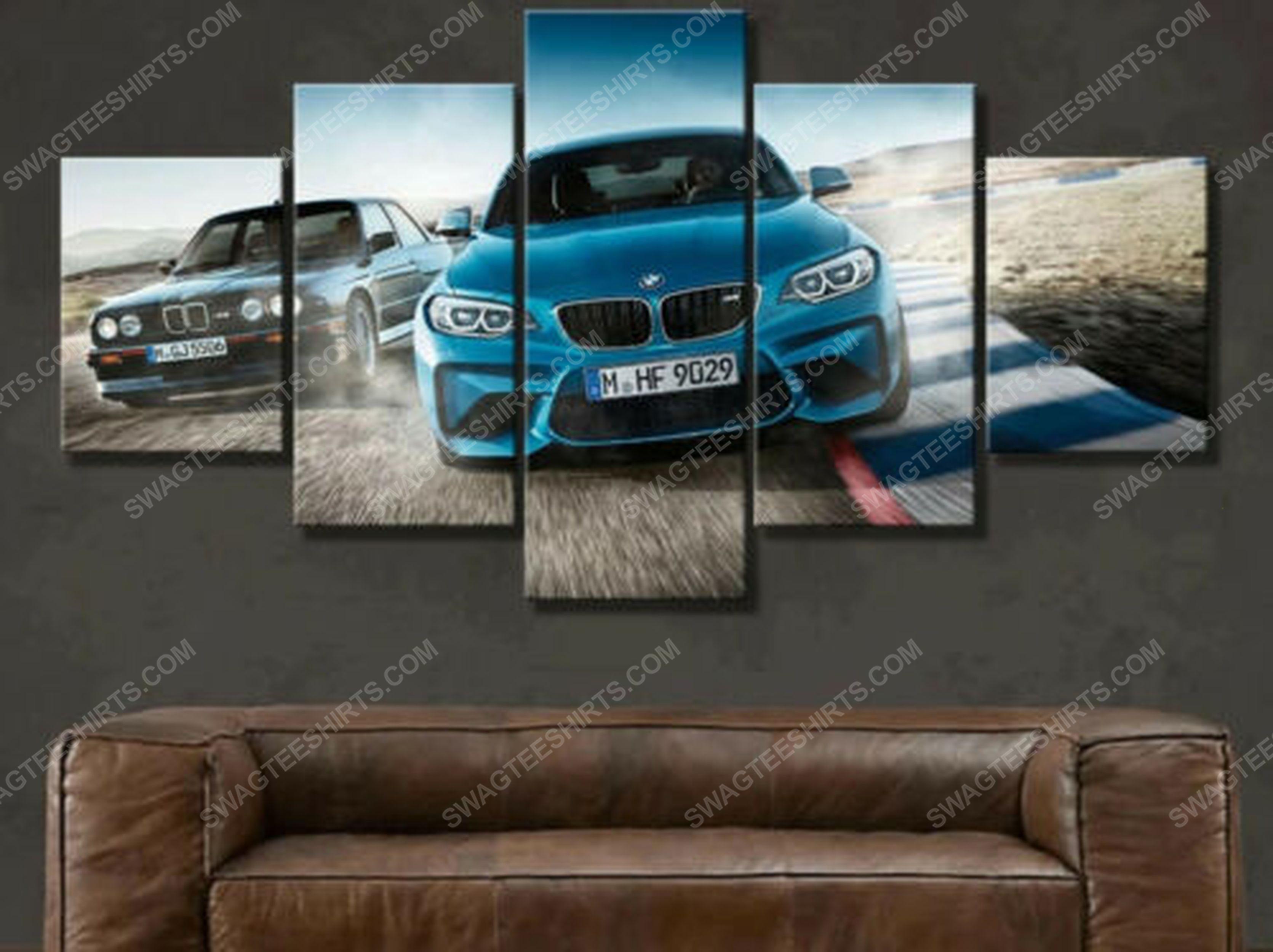 BMW m2 sports car racing print painting canvas wall art home decor