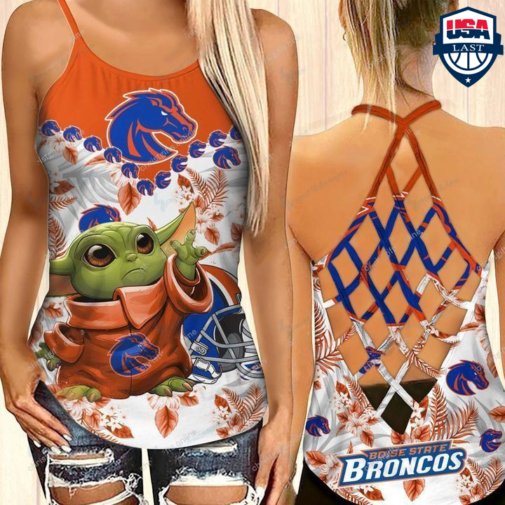 Baby Yoda Boise State Broncos NCAA Criss Cross Tank Top