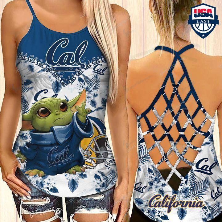 Baby Yoda California Golden Bears NCAA Criss Cross Back Tank Top