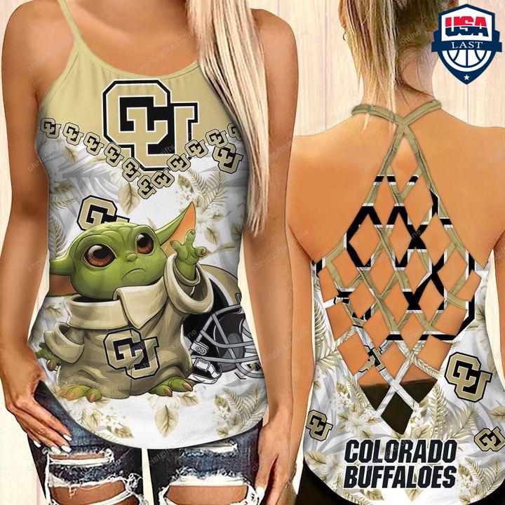 Baby Yoda Colorado Buffaloes NCAA Criss Cross Tank Top