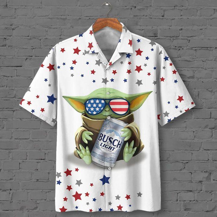 Baby Yoda Hugs Busch Light Beer Hawaiian Shirt