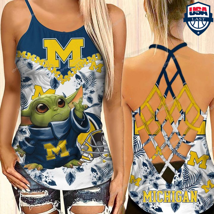 Baby Yoda Michigan Wolverines NCAA Criss Cross Back Tank Top