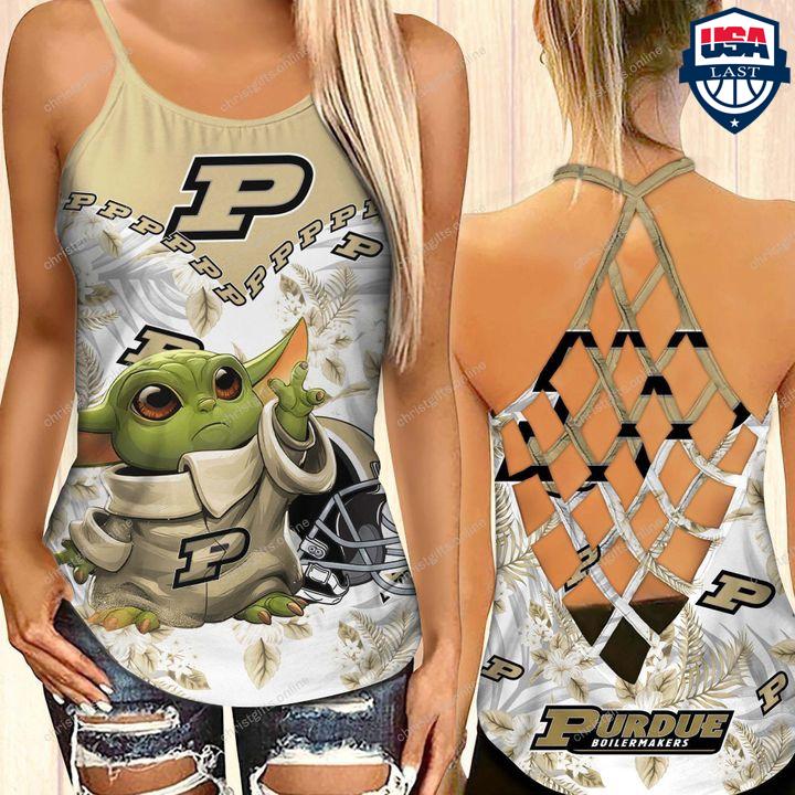 Baby Yoda Purdue Boilermakers NCAA Criss Cross Tank Top