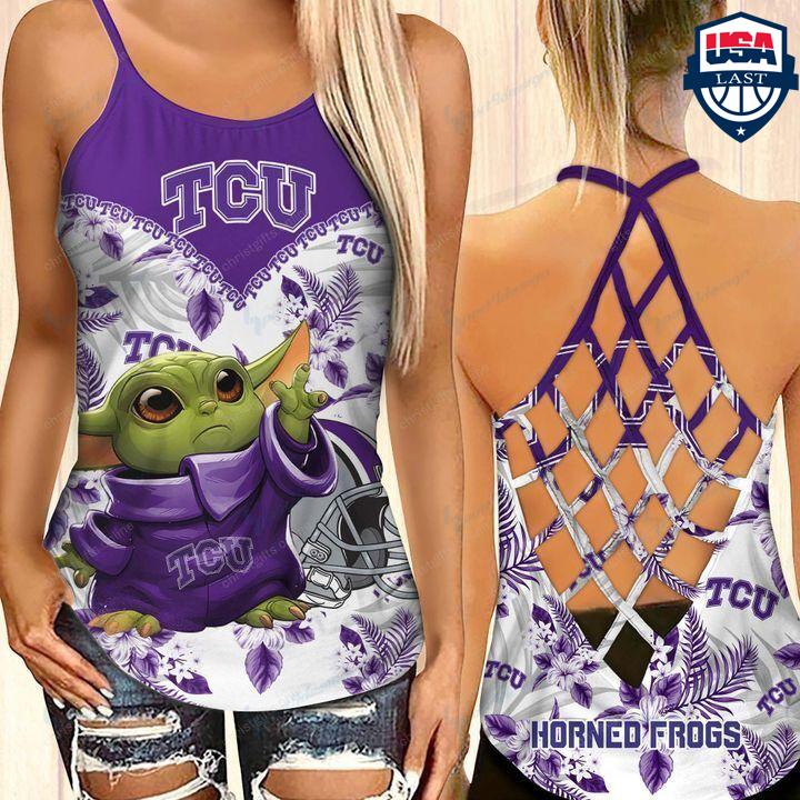 Baby Yoda TCU Horned Frogs NCAA Criss Cross Tank Top