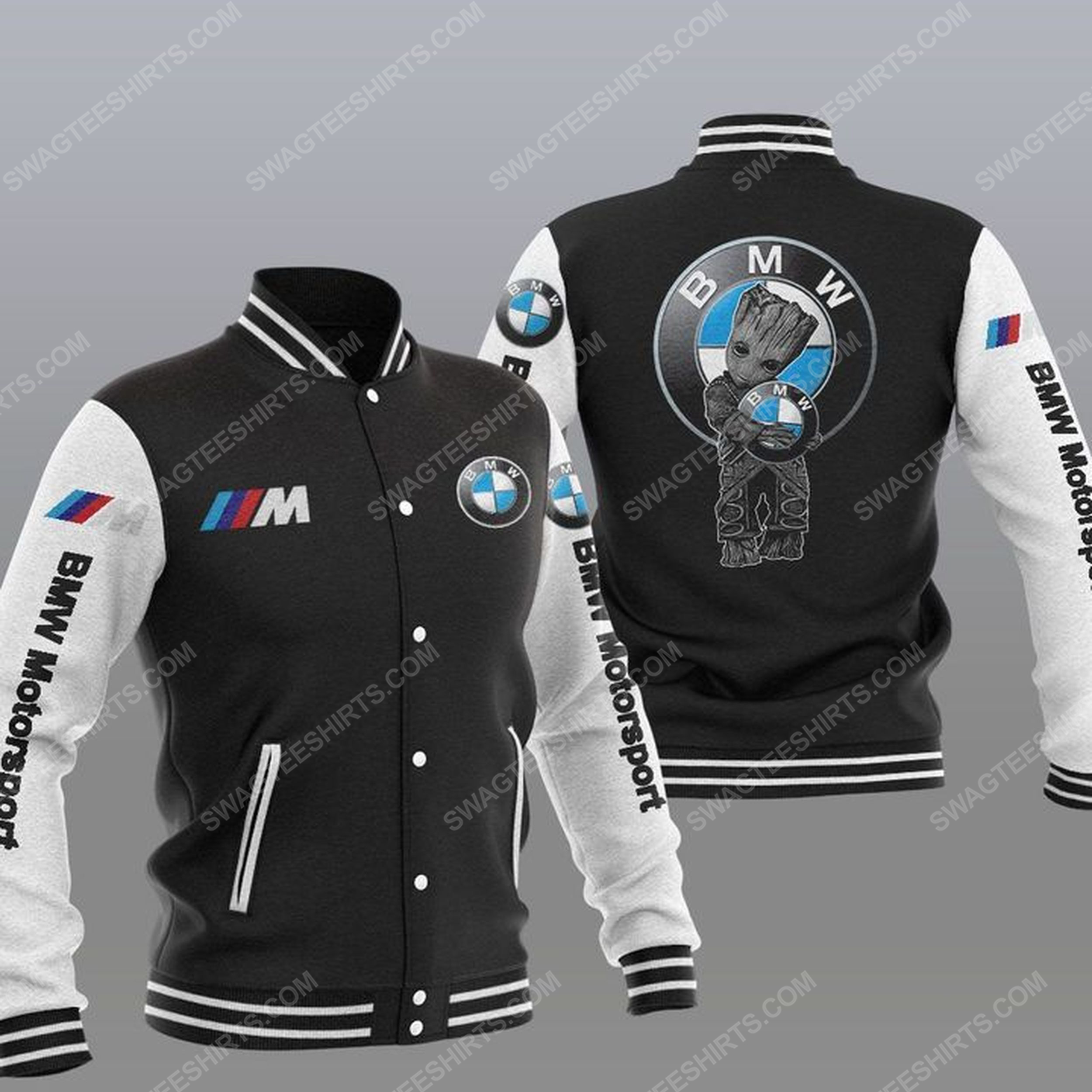Baby groot and bmw motorsport all over print baseball jacket - black 1