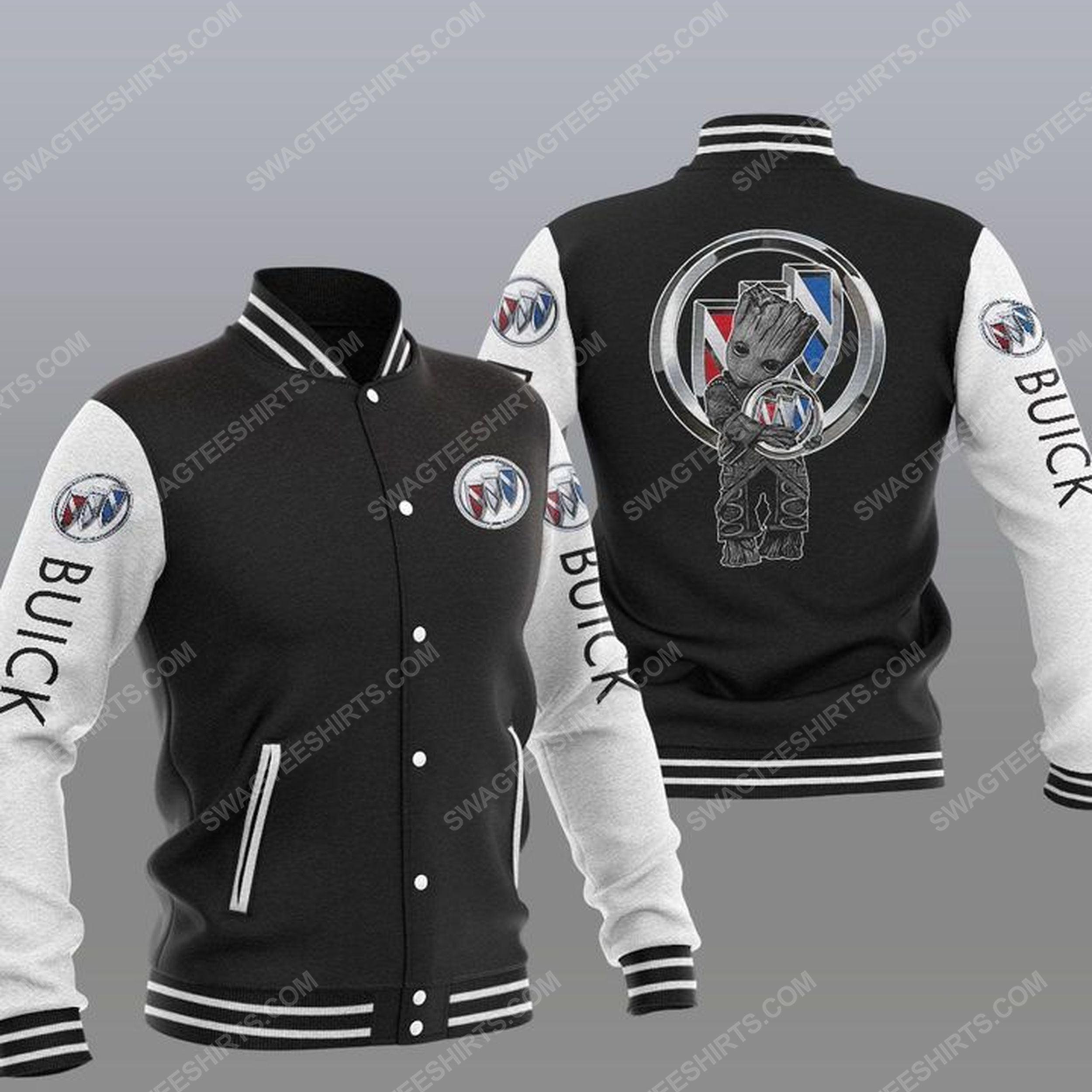 Baby groot and buick all over print baseball jacket - black 1