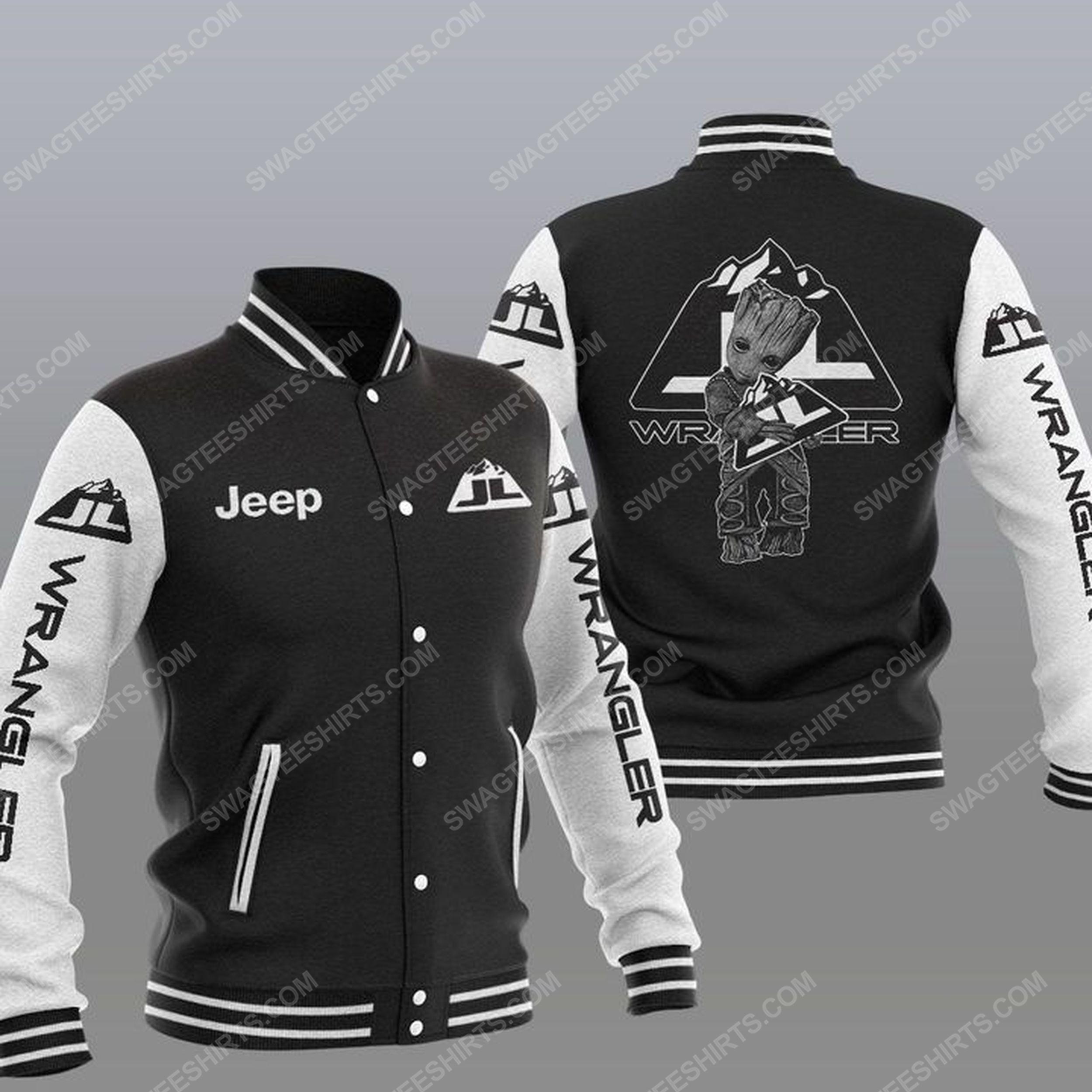 Baby groot and jeep wrangler all over print baseball jacket - black 1