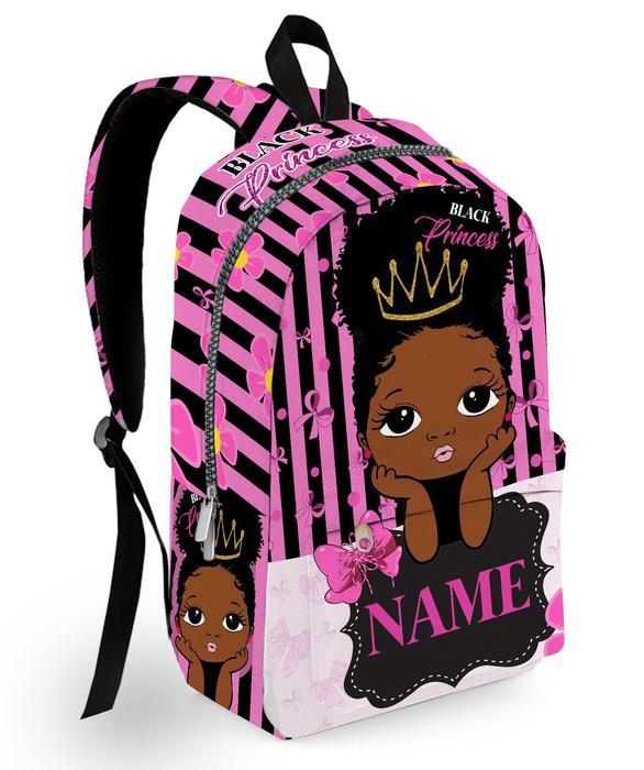 Personalized Name Little Black Princess Black Kid Backpack