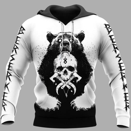 Bear claws and yggdrasil viking 3d hoodie