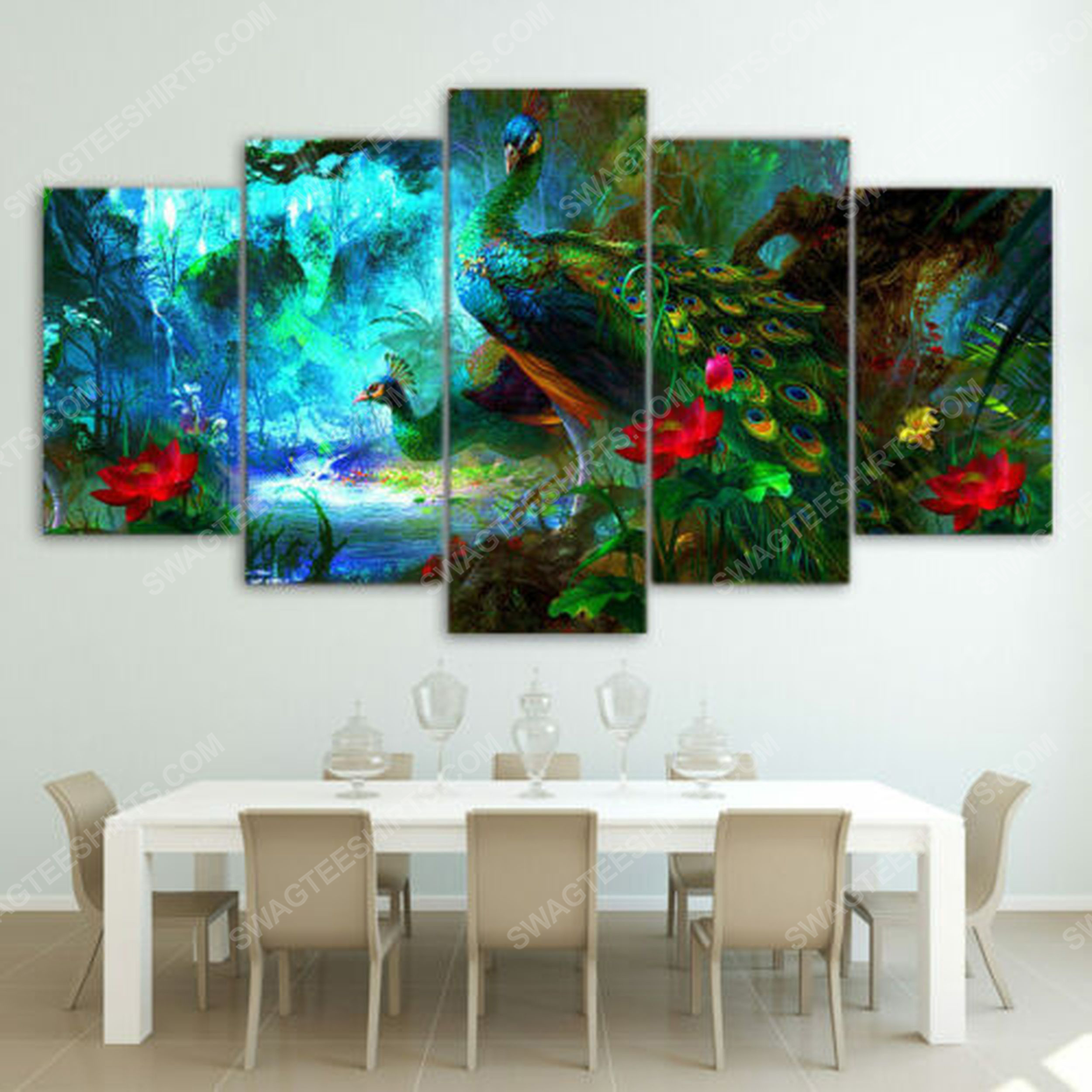 Beautiful blue peacock print painting canvas wall art home decor