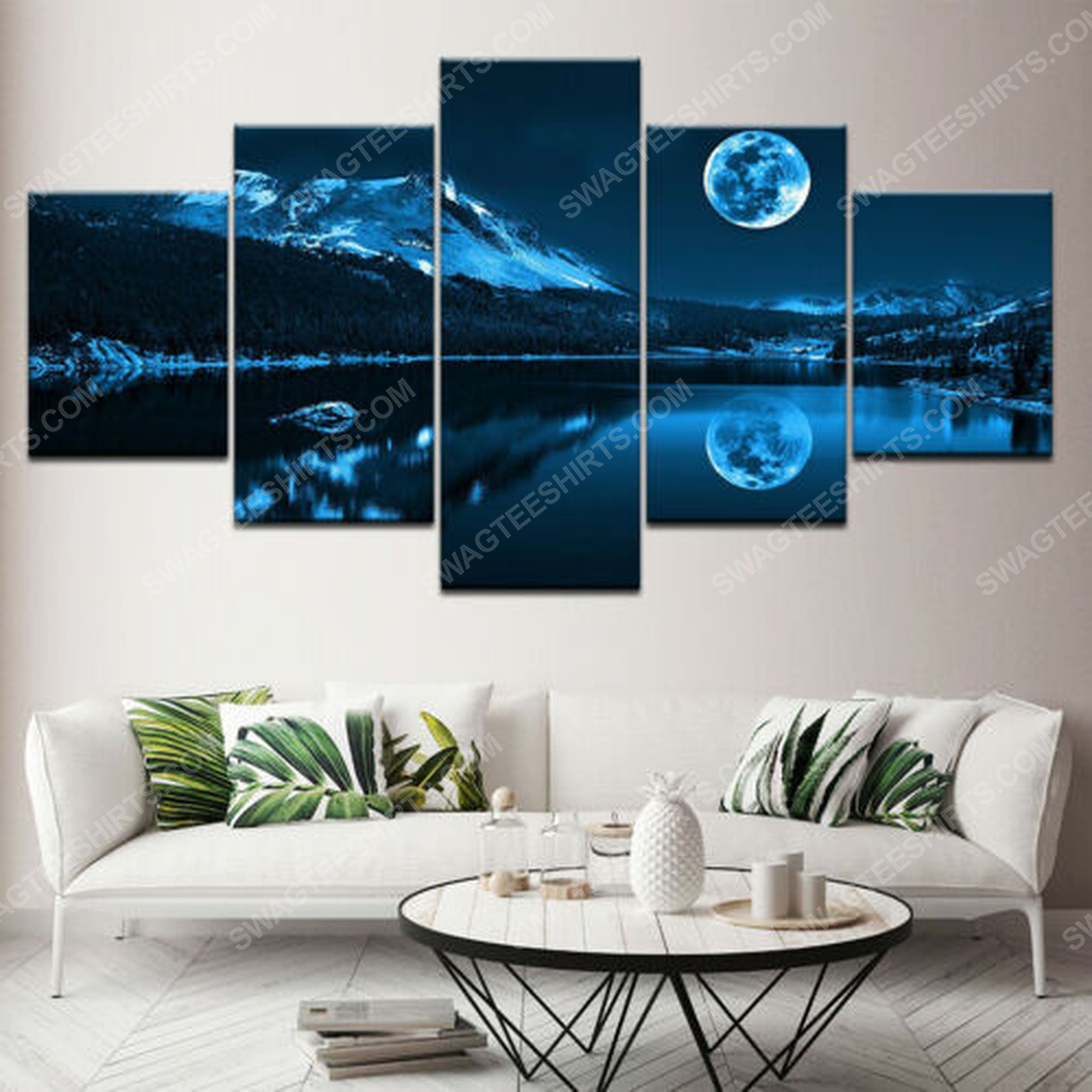 Blue moon and night scene print painting canvas wall art home decor
