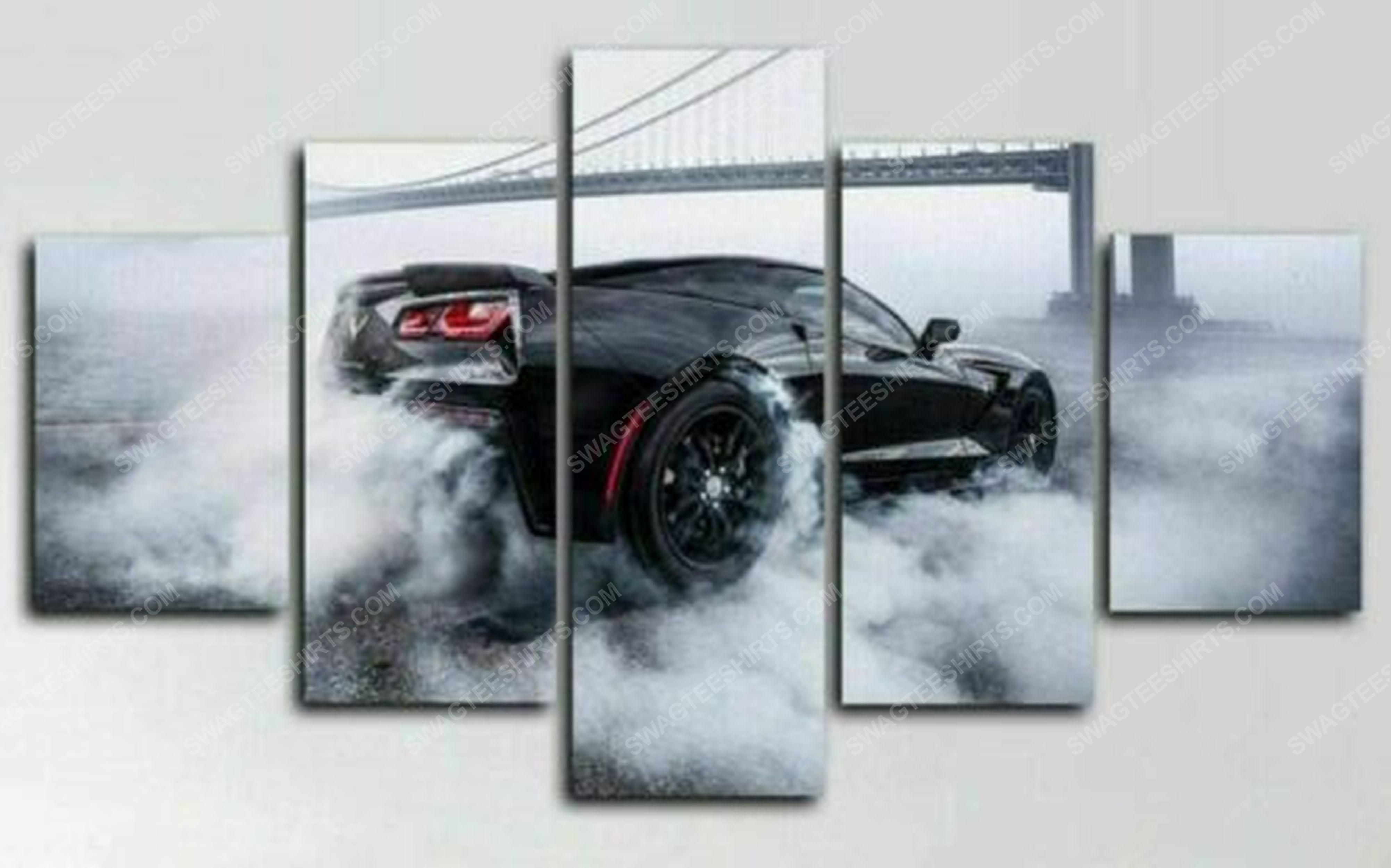 Chevrolet corvette burnout car print painting canvas wall art home decor