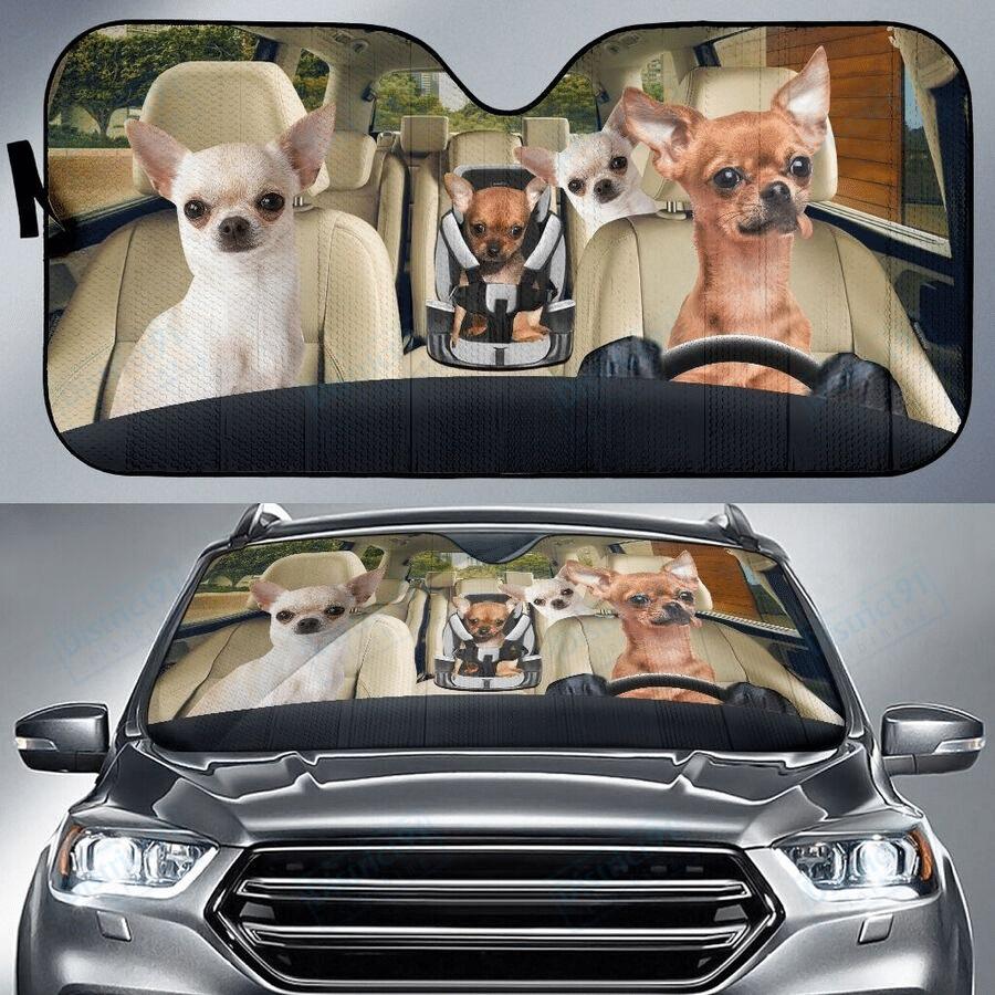 Chihuahua family car sunshade