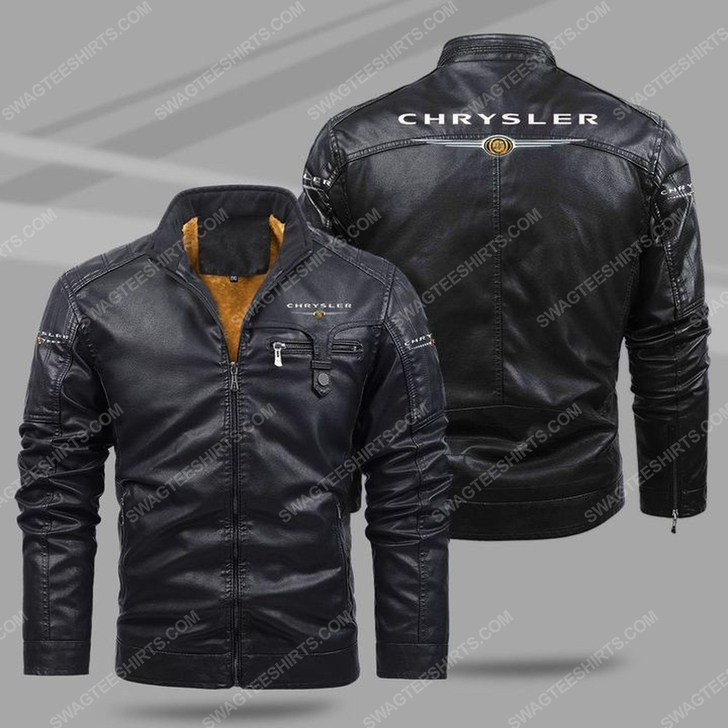Chrysler car all over print fleece leather jacket