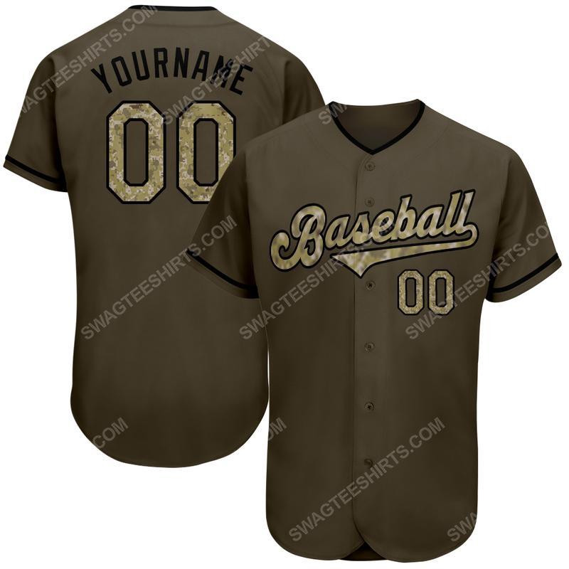 Custom name olive camo-black baseball jersey
