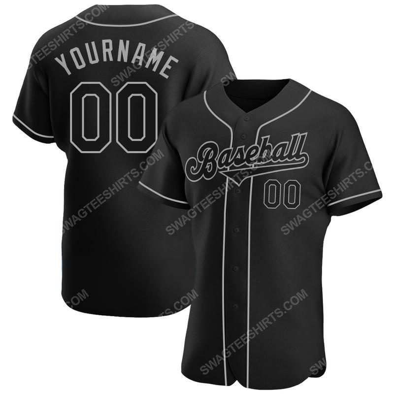 Custom team name black black-gray baseball jersey