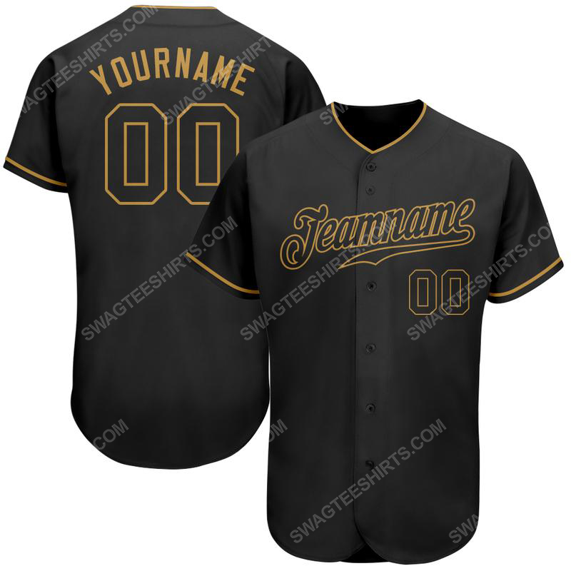 Custom team name black black-old gold baseball jersey