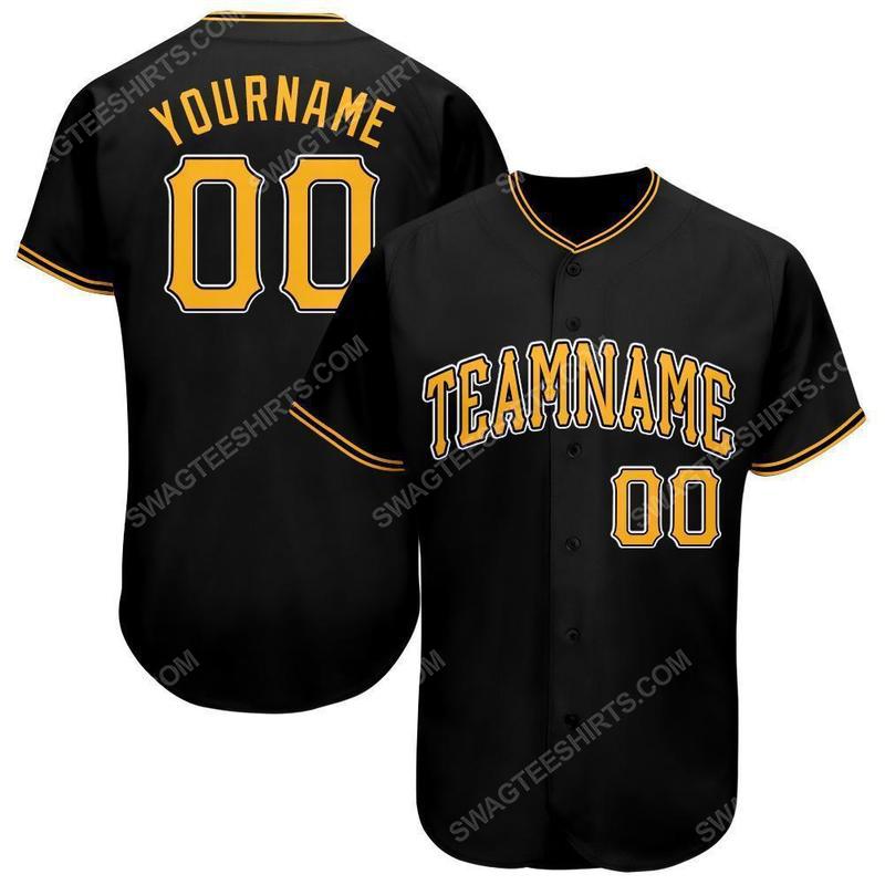 Custom team name black gold-white baseball jersey