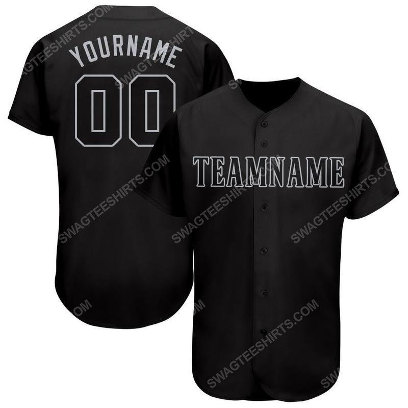 Custom team name black gray baseball jersey
