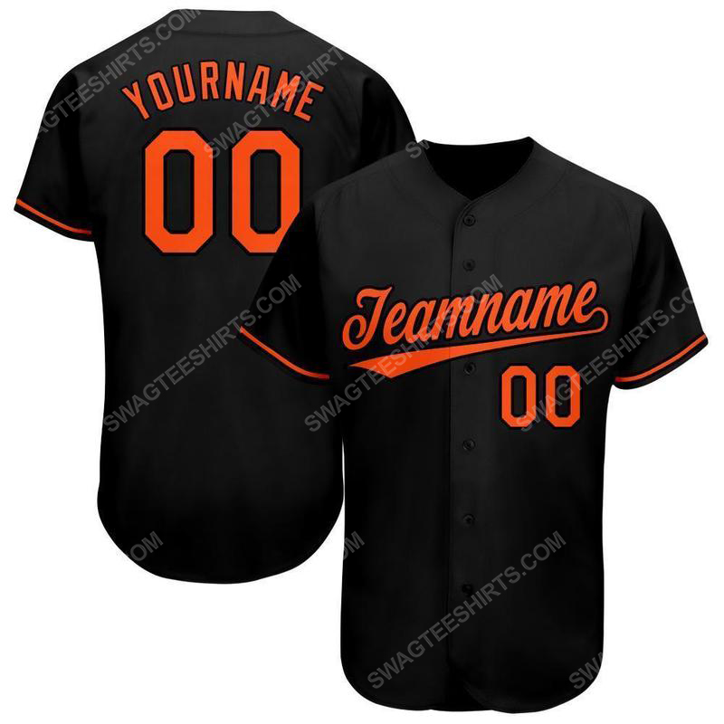 Custom team name black orange baseball jersey