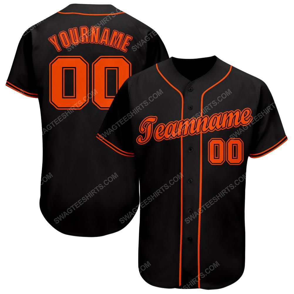 Custom team name black strip orange full printed baseball jersey
