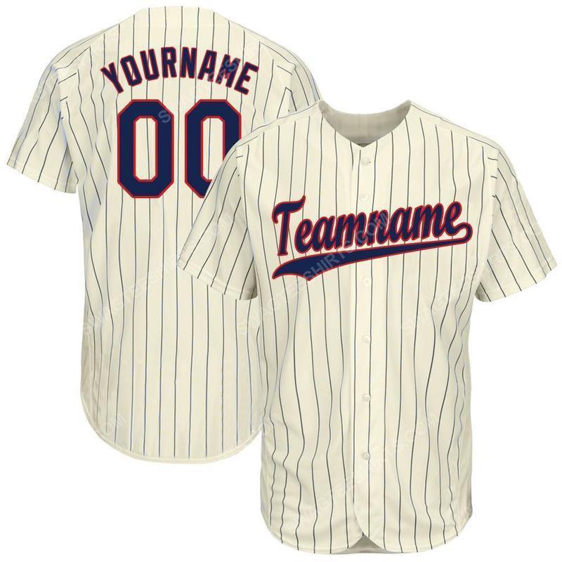 Custom team name cream navy strip navy-red baseball jersey
