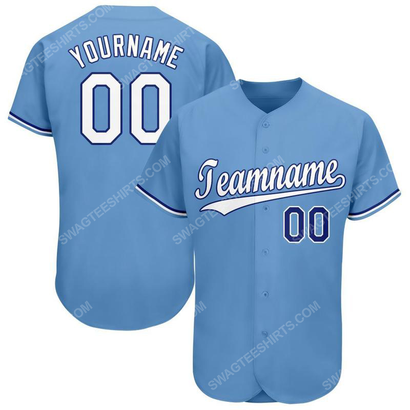 Custom team name light blue white-royal baseball jersey