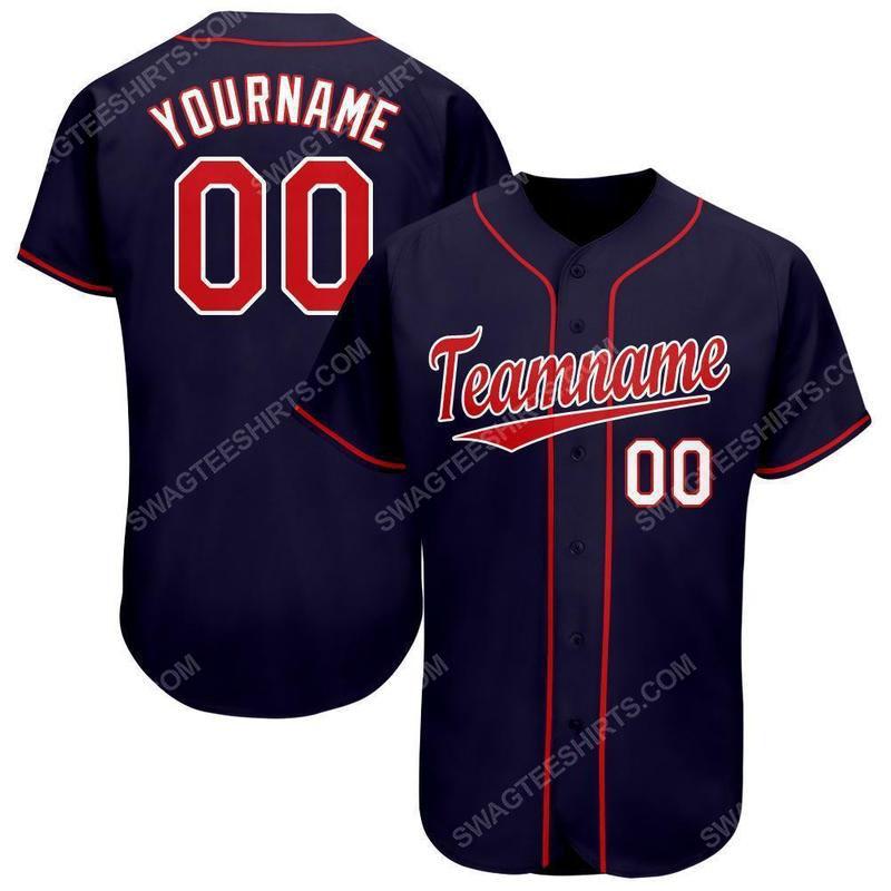 Custom team name navy red-white baseball jersey