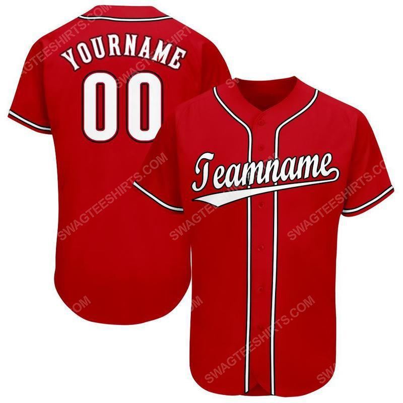 Custom team name red white-black baseball jersey