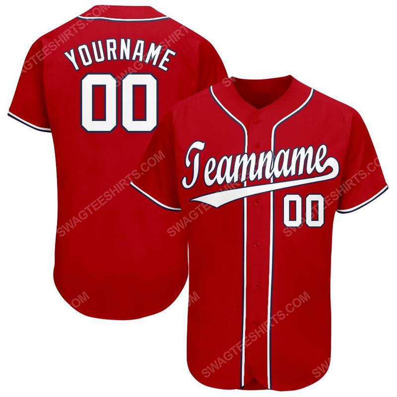 Custom team name red white-navy baseball jersey