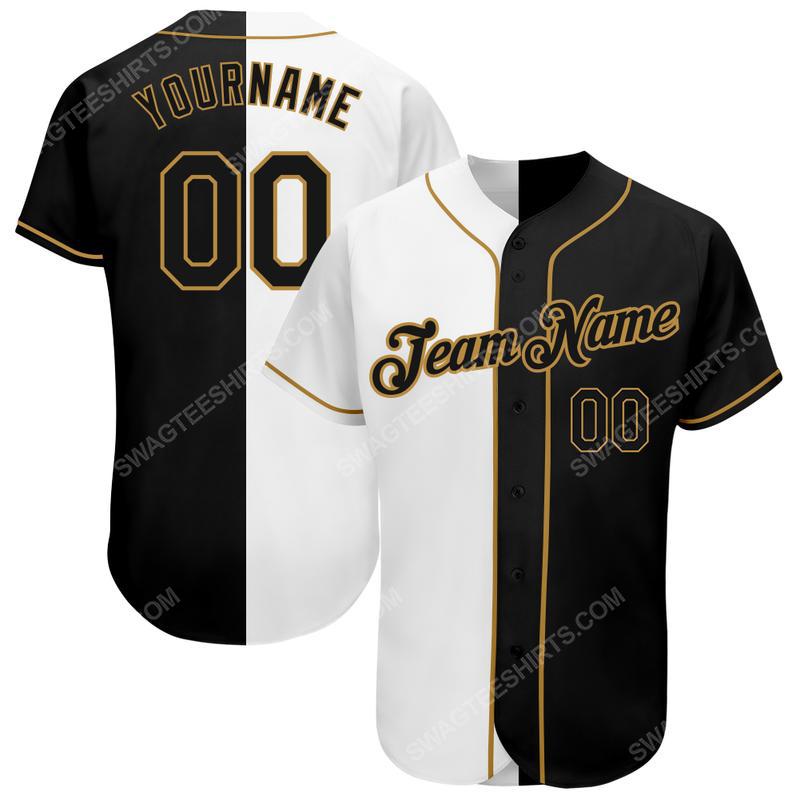 Custom team name white-black old gold baseball jersey
