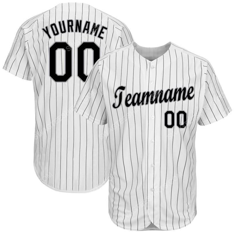 Custom team name white black strip black-gray baseball jersey