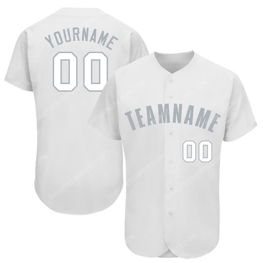 Custom team name white gray full printed baseball jersey