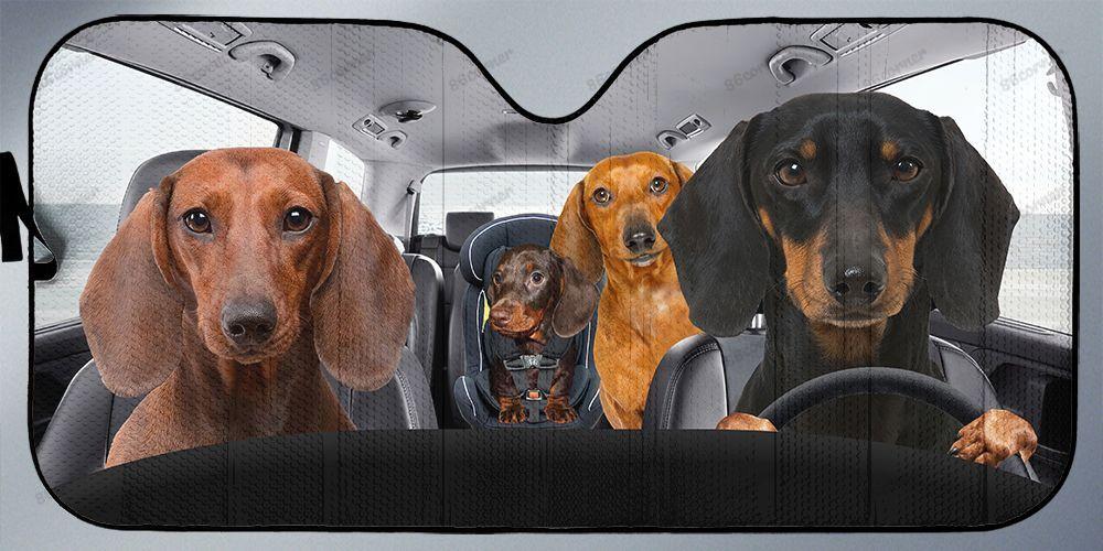 Dachshunds family driving car sunshade -pic2