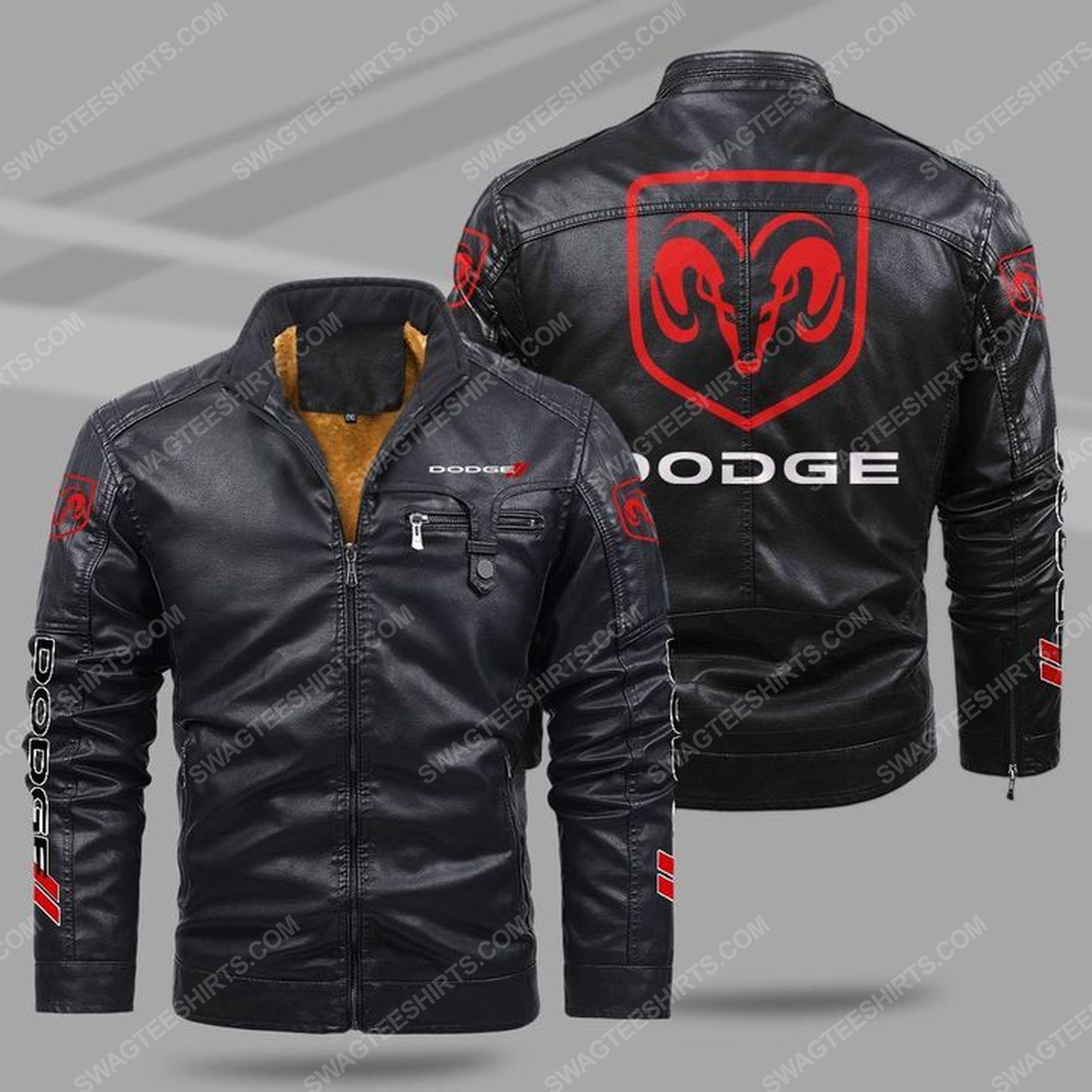 Dodge car all over print fleece leather jacket