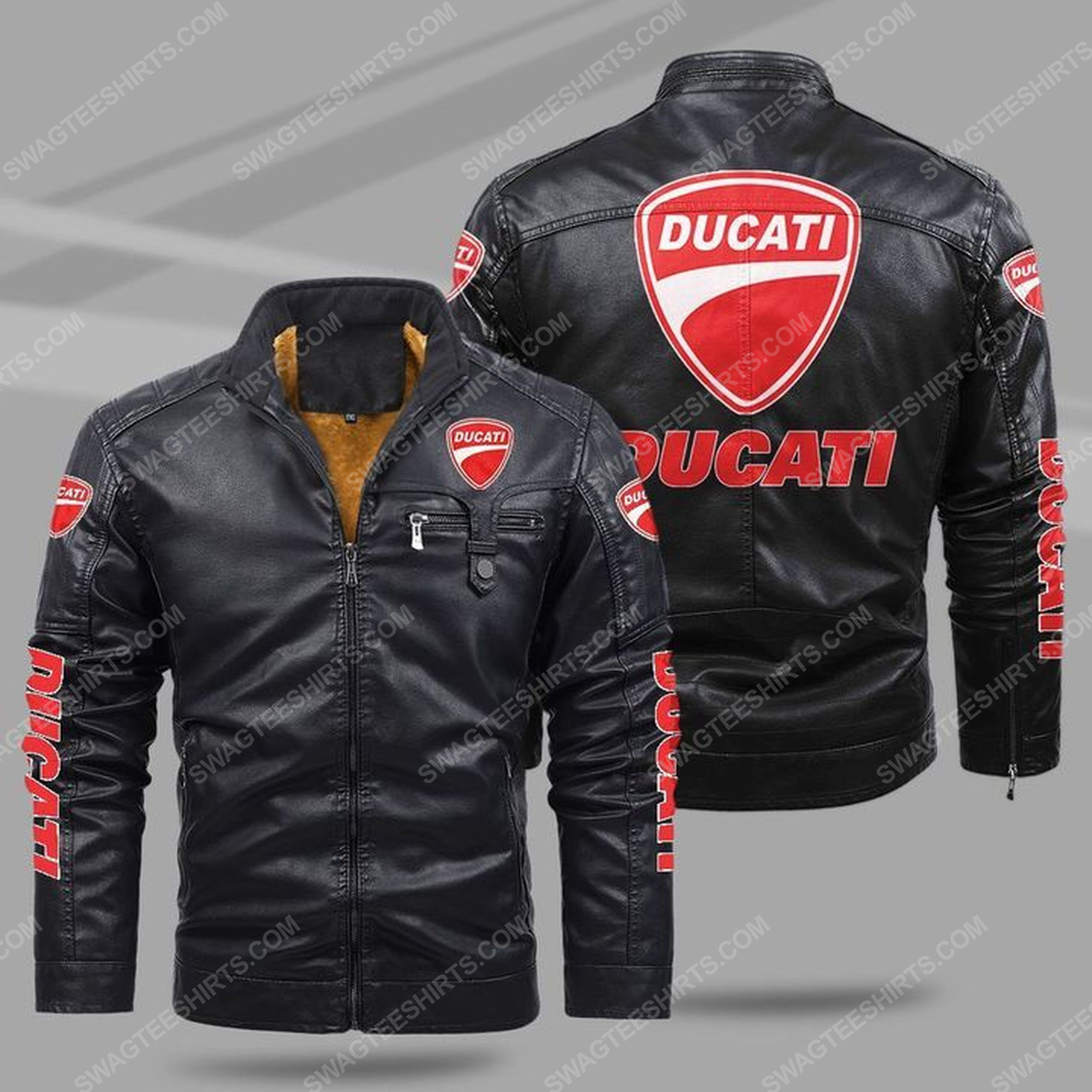 Ducati motorcycles all over print fleece leather jacket