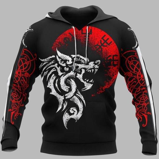 Fenrir vegvisir viking 3d hoodie