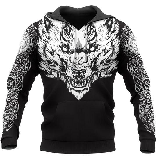 Fenrir wolf axe sword 3d hoodie