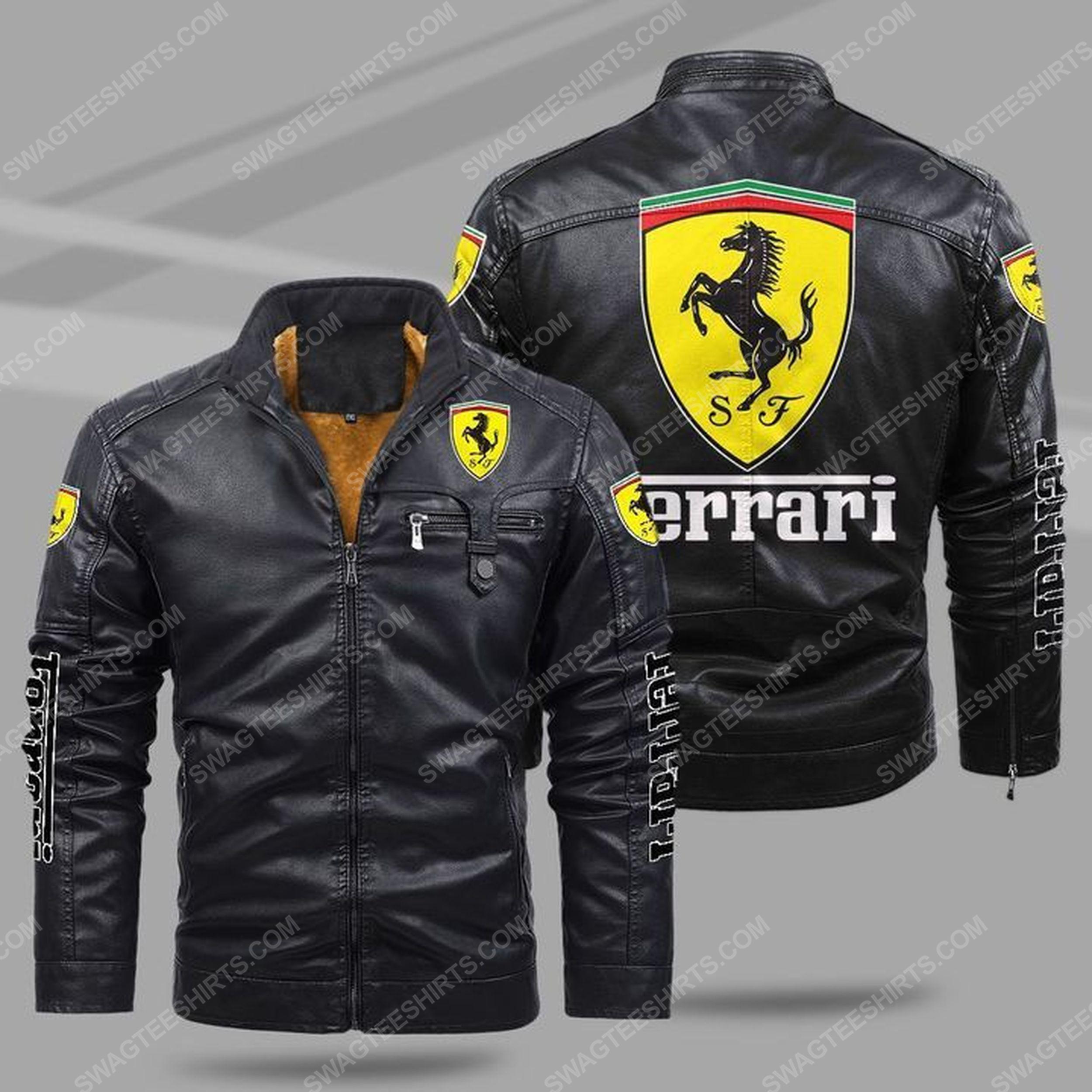 Ferrari car all over print fleece leather jacket
