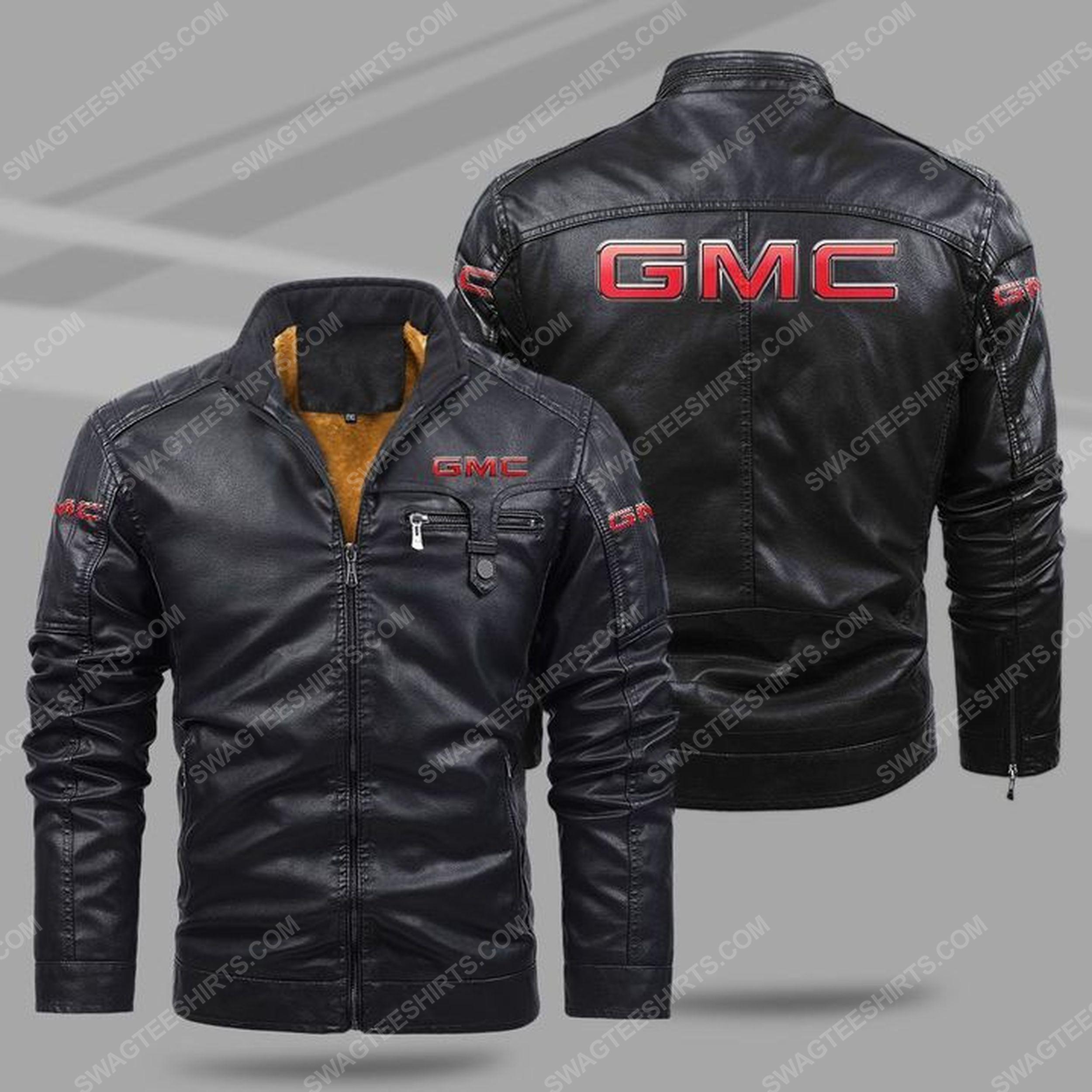GMC car all over print fleece leather jacket