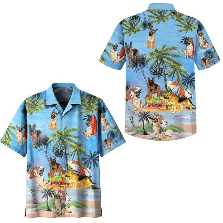 German shepherd dog summer beach hawaiian shirt